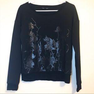 Rock & Republic Black Embellished Sweatshirt Small